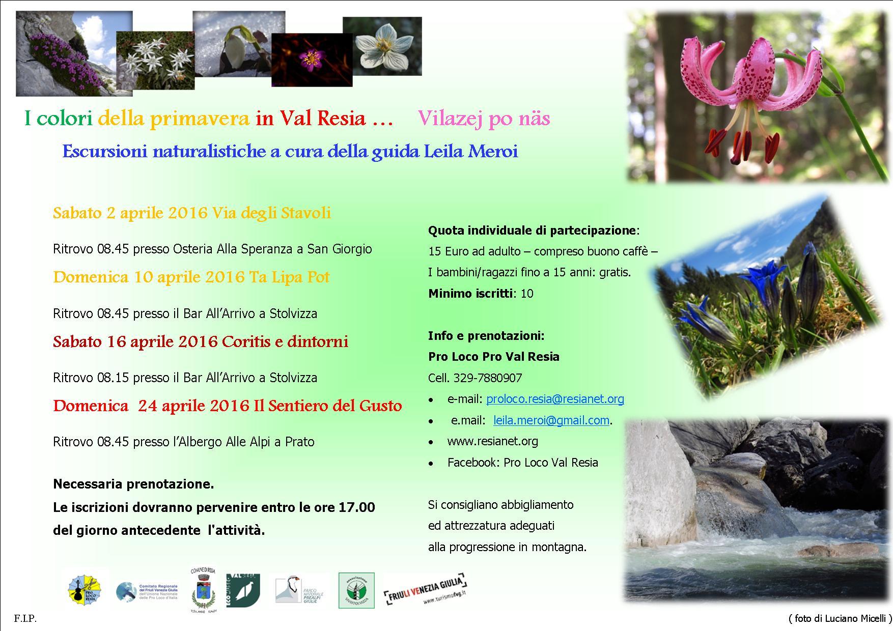 opuscolo primavera in Val Resia-escursioni