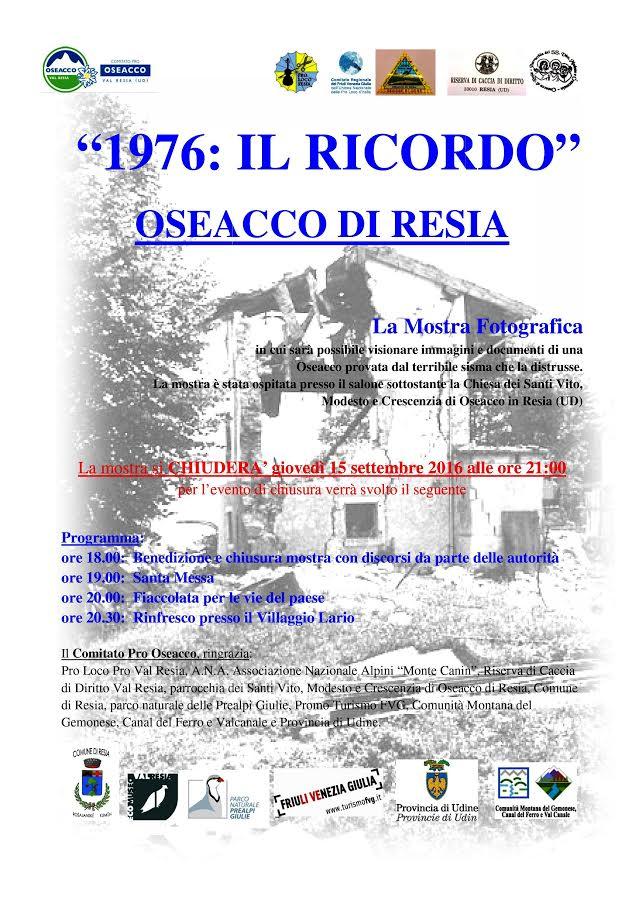 chiusura mostra foto 1976 IL RICORDO